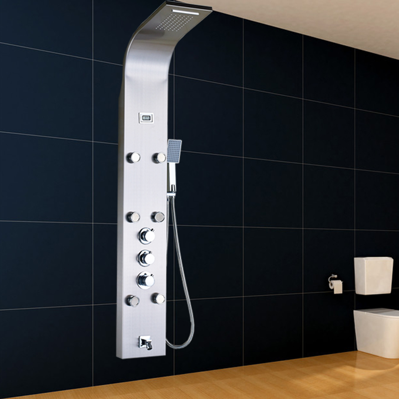 Factory Direct Sale Brushed Nickel Wall Mounted Digital temperature display Shower Column