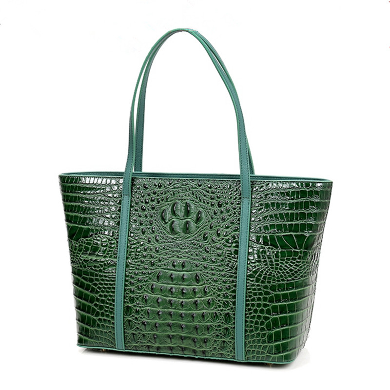 2018 High-capacity Women Aligator Composite Bag Messenger Genuine Leather Bags Shoulder Handbag Lady Purple Casual Tote Shopping high quality tote bag composite bag 2
