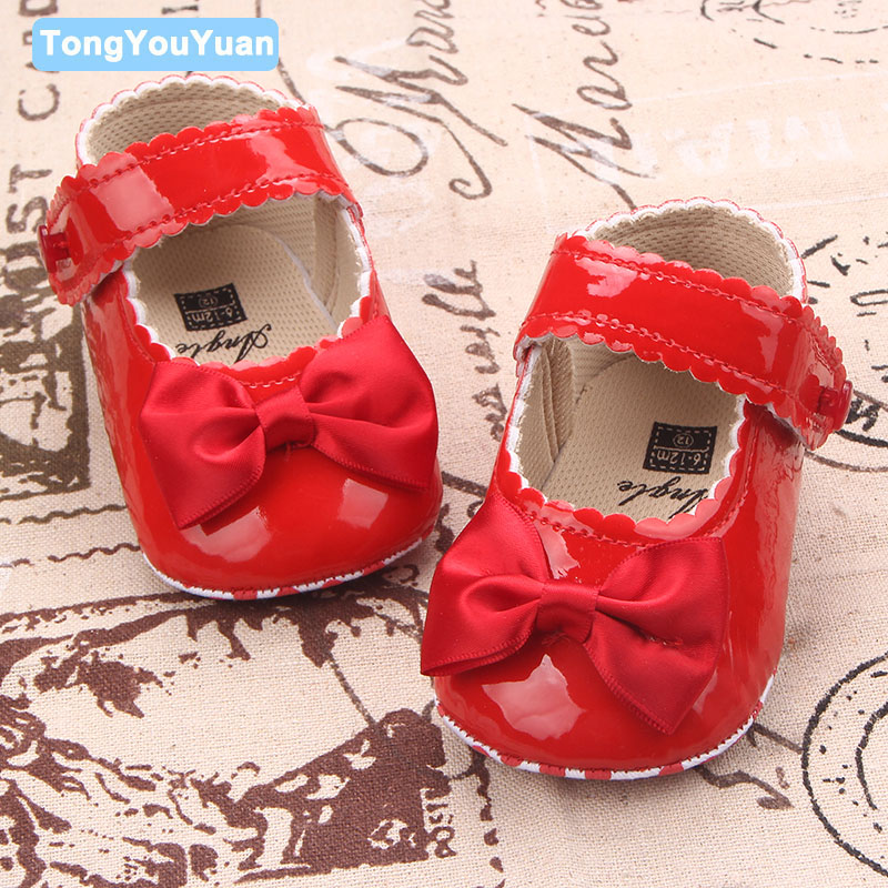 New Arrival Solid Butterfly-knot Leather Shallow Baby Girl Toddler Dress Shoes For 0-15 Months