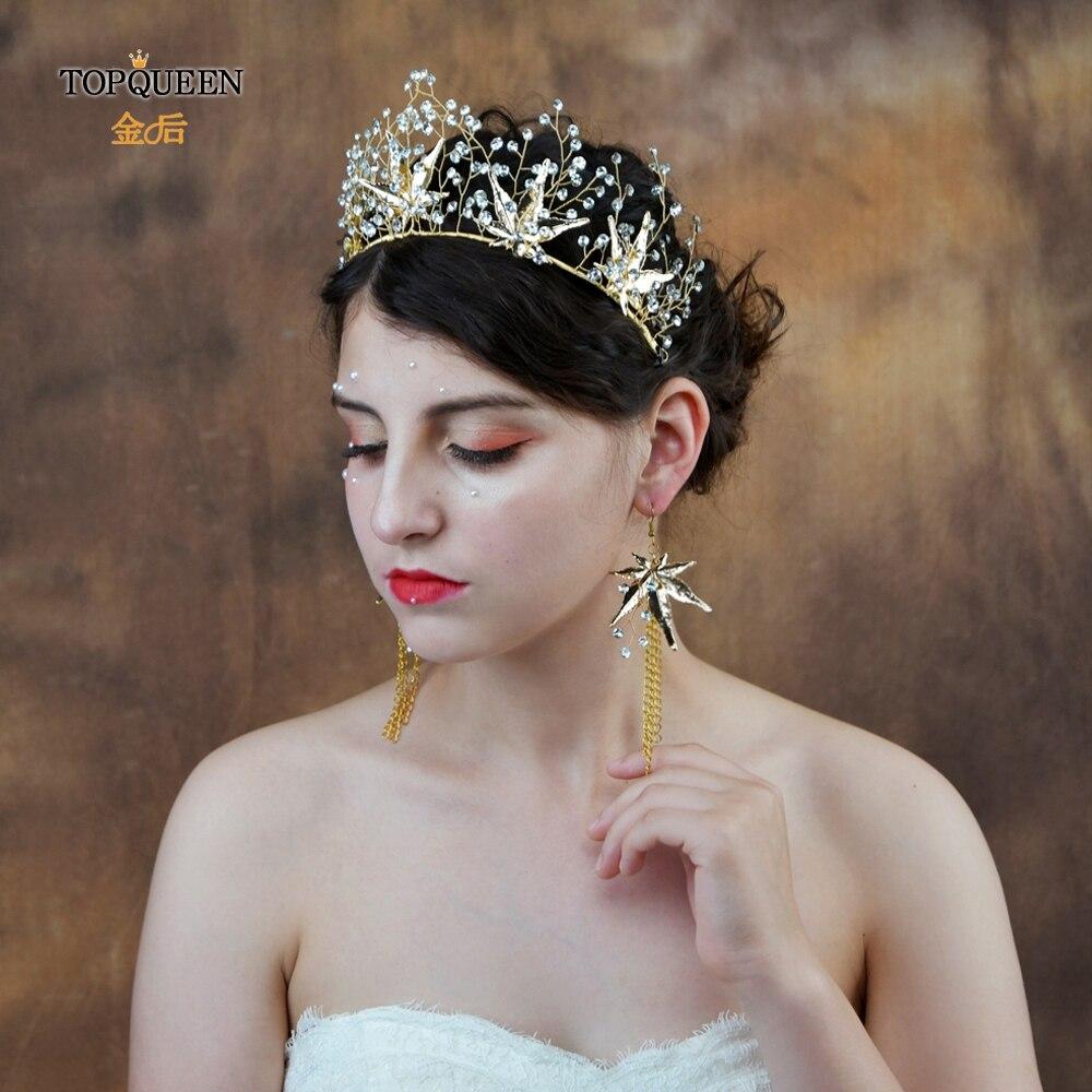 TOPQUEEN HP216-G Wedding Crown Bride Hair Jewelry Handmade  Crystal Hair Accessories Bridal Tiara With Maple Leaf Diamond Flower