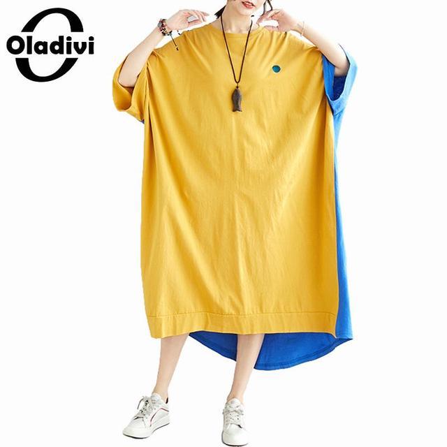 Oladivi Oversized Women Plus Size Fashion Print Patchwork Summer Dress 2019 New Ladies Casual Loose Midi Dresses Female Vestidos