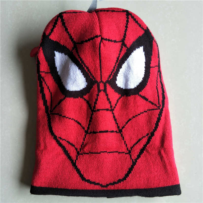 2f014976 ... Cartoon Super Hero Spider man Hat Knitting Cotton Beanies Cap Plush  Winter Warm Cute Spider man ...