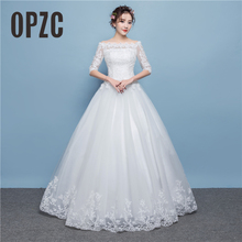 Real Photo Sweetheart A Line White Red Fashion Leuxury Appliques Weeding Dress Lace Back Design Sexy Boat Neck Illusion Style