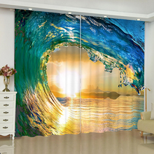 Beach scenery curtains for window starfish landscape blinds finished drapes blackout parlour room
