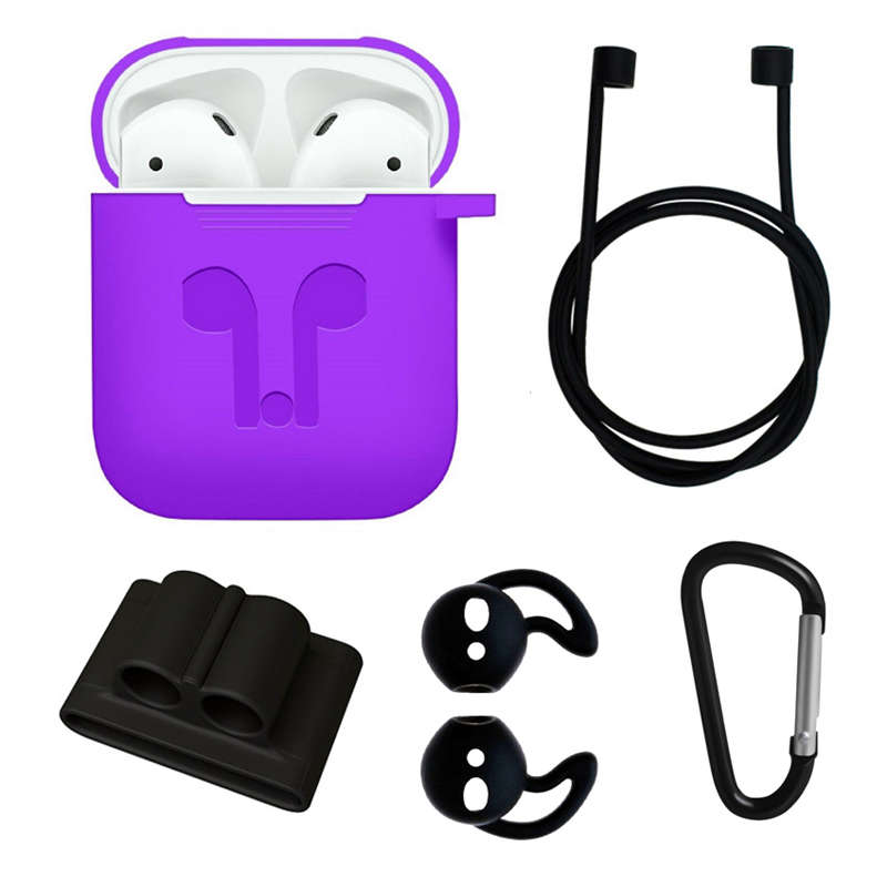 For Apple <font><b>Airpods</b></font> Accessories Silicone Cover <font><b>Case</b></font>+Anti Lost Strap+Ear Cover Hook <font><b>5</b></font> <font><b>In</b></font> <font><b>1</b></font>(Purple+Black) image