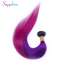 Sapphire Hair Straight Brazilian Hair Weave Bundles Ombre Color Human Hair Bundles 100% Remy Hair Extensions Free Shipping