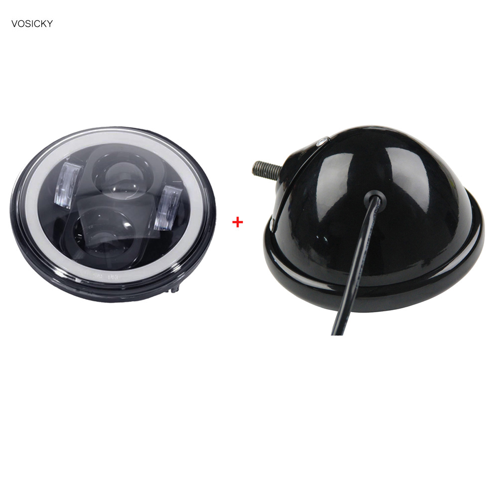 ФОТО VOSICKY 5.75 Inch Led Headlight Housing bucket with 5.75 inch headlight White halo angel eye for Harley  Sportsters Touring