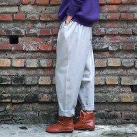מורי הילדה סגנון למתוח סתיו נשים מכנסי הרמון מכנסיים מזדמנים מכנסיים מכנסיים בציר femme pantalon כותנה מכנסיים סיבתי אדום חאקי