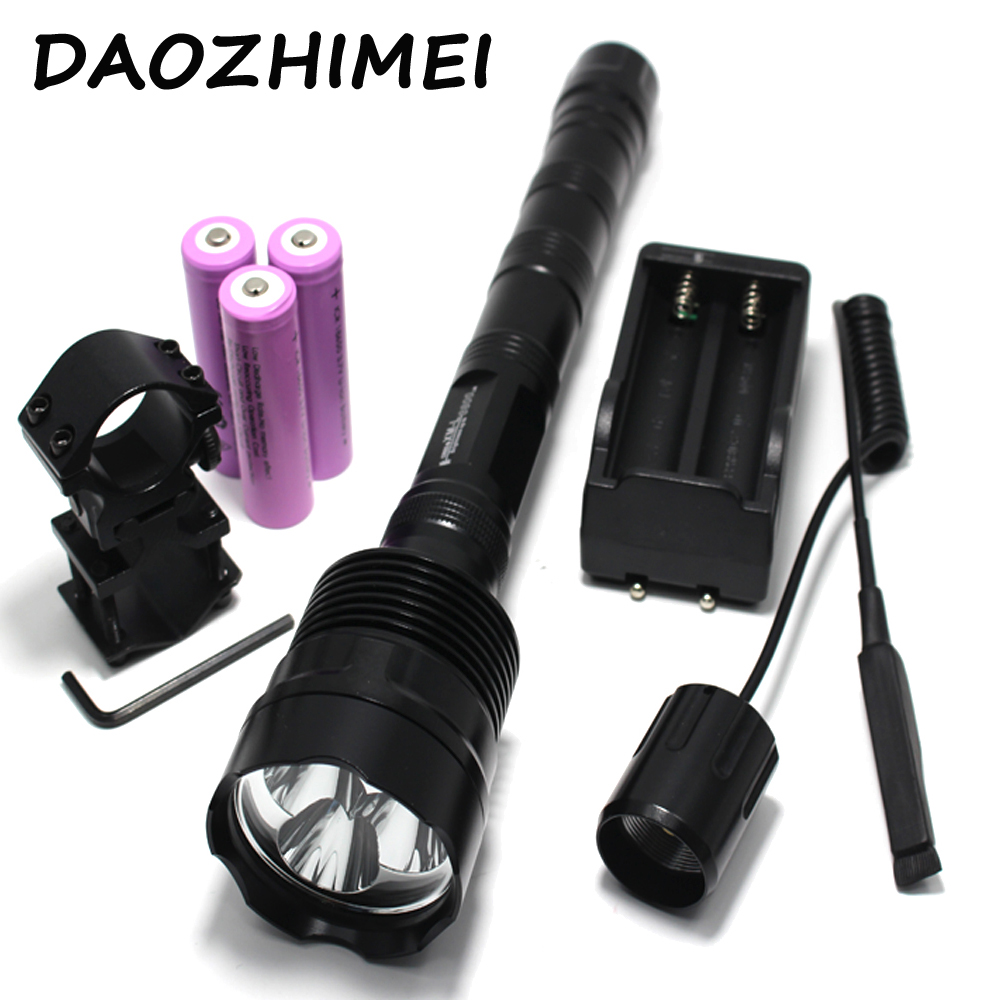 LED Hunting flashlight 3800 Lumens 3T6 Powerful XML 3xT6 5Mode Tactical torch+Charger+Remote Switch+Gun Mount Free match anjoet led hunting flashlight 6000 lumens 3 x xml t6 5mode 3t6 torch light suit gun mount remote pressure switch charger