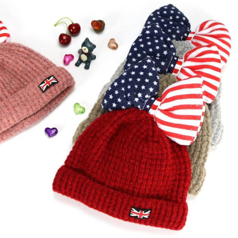 2017 Fashion Solid Beanies Flag bow wool Winter Baby Child knitted fur hat kids girls Earflap Caps Age for 2-6  years old new star spring cotton baby hat for 6 months 2 years with fluffy raccoon fox fur pom poms touca kids caps for boys and girls