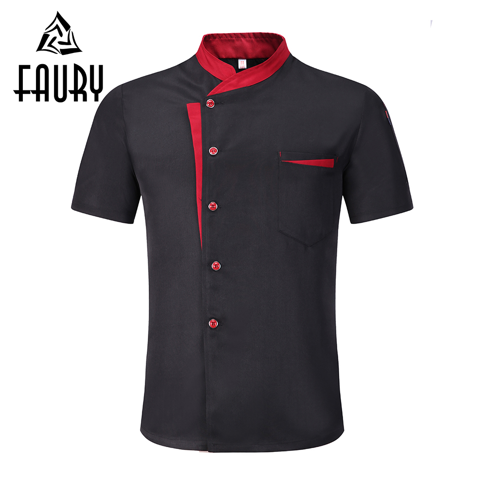 Unisex Single Breasted Stitching Color Short Sleeve Breathable Summer Chef Work Uniforms Restaurant Cafe Waiter Jackets Aprons