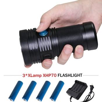 Most lumens Super bright led flashlight XHP70 lantern spotlight torch flashlight 18650 charge camping lamp linterna led zaklamp