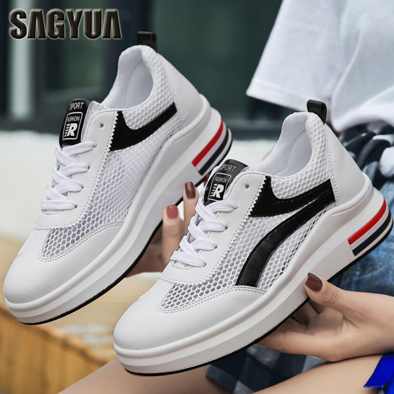SAGYUA Women Students Female Girlish Fashion Casual Mujer Mesh Air Breathable Thick-Soled Zapatos Chaussures Sapatos Shoes T418