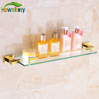 Fashion Gold Plate Bath Single Tier Storage Shelf Wall Mounted Cosmetic Rack