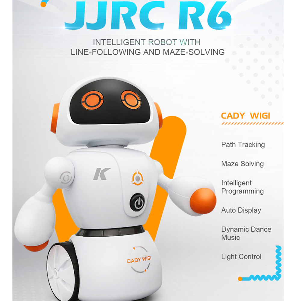 JJRC R6 Intelligent Programming Dancing Robot With Line-Following Maze Solving USB RC Robot Toy Kids Birthday Gifts VS JJRC R2 2018 new intelligent cady wigi jjrc r6 remote control programmable dancing usb rc robot t vader stormtrooper model toy for kids