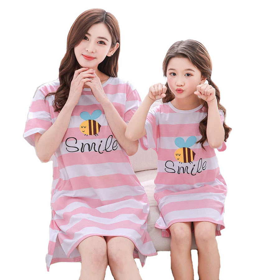 Famli 1pc Mother Daughter Pyjama Family Matching Summer Casual Short Sleeve Printe Cotton Nightgown Pajama Dresses Clothes Set ...