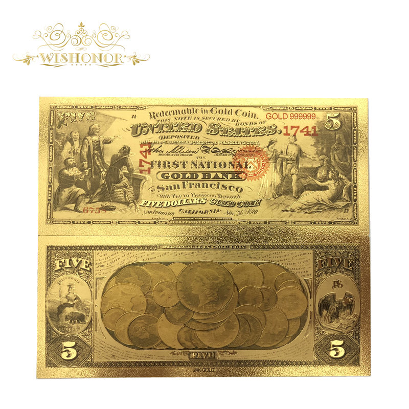 Souvenir Gifts For 10Pcs/Lot For 1870's America Banknotes <font><b>5</b></font> <font><b>Dollar</b></font> <font><b>Bills</b></font> Banknote in 24K Gold Gold Foil Paper Money For Gifts image