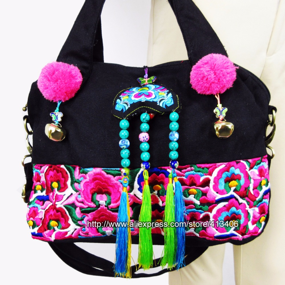 2-Usage Vintage Hmong Tribal Ethnic Thai Indian Boho shoulder bag messenger tote bag handmade, embroidery pom trim bell SYS-519 vintage hmong boho tribal ethnic thai indian boho embroidery hand bag messenger purse bag hobo tote bag pom bead trim sys 1016