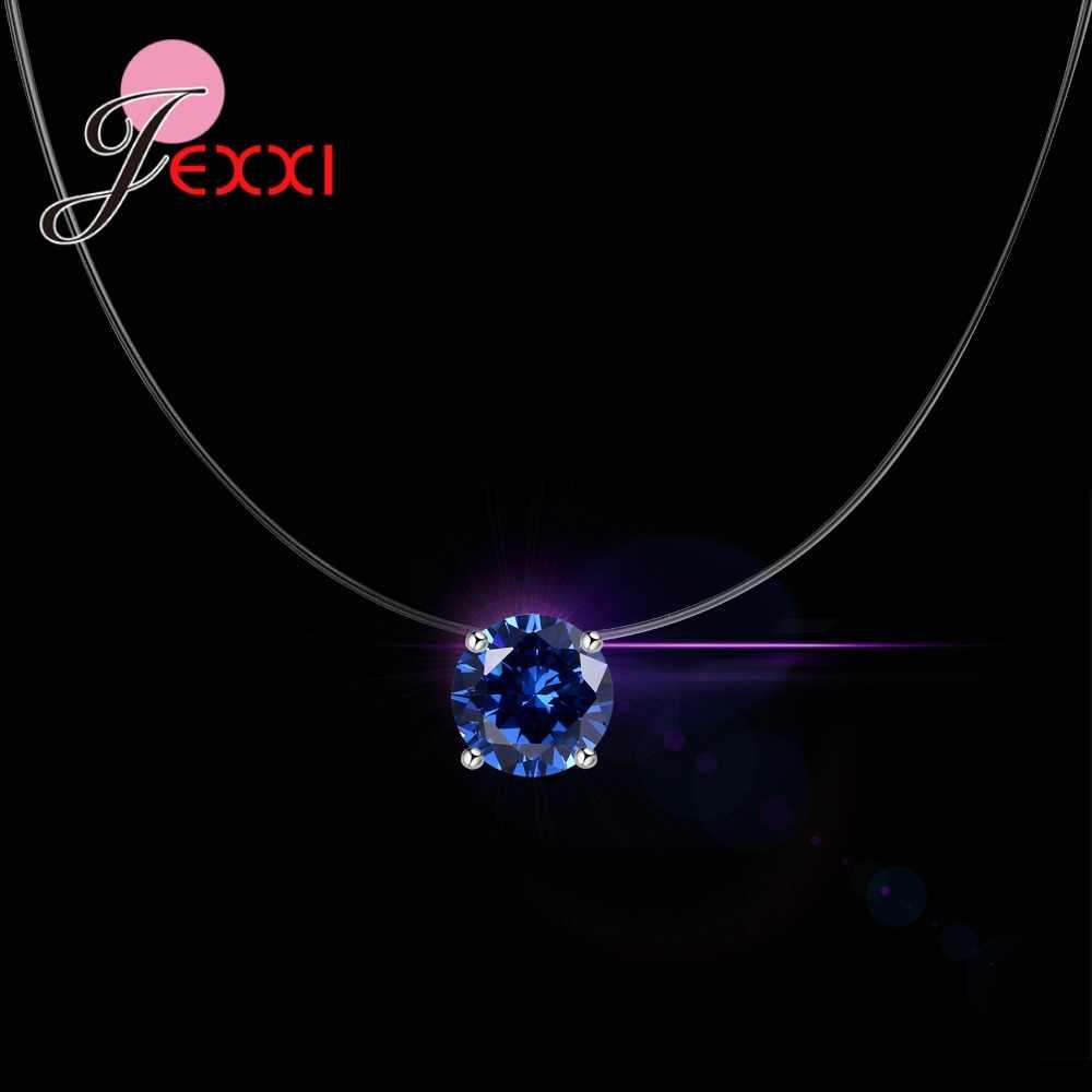 925 スターリングシルバー光沢のあるラウンド高品質石クリスタル目に見えない透明釣り糸のチェーンネックレス