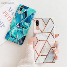 Luxury Geometric Glossy Marble Soft Silicone Case For Huawei P30 P20 Pro Lite Plating Lines For Huawei Mate 20 Pro Back Cover(China)