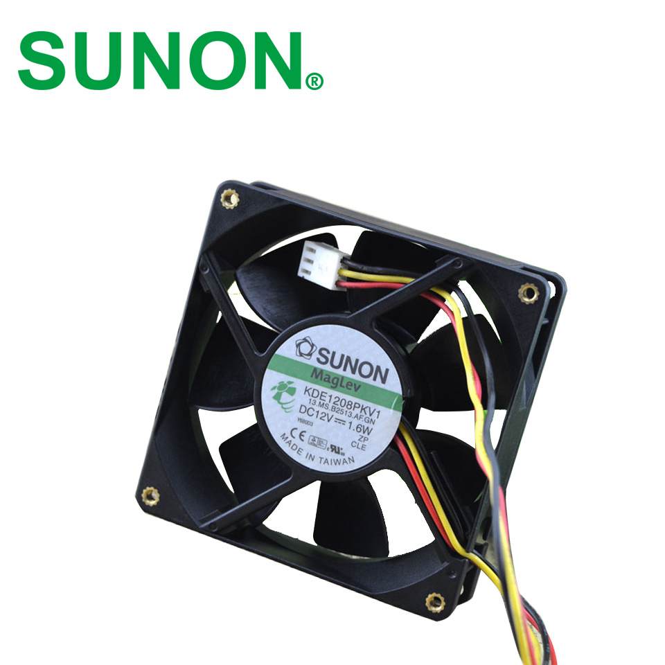 SUNON ultra - quiet chassis fan 12V 1.6W KDE1208PTV1, 13.MS.AF.GN   DC 12V 1.6W 3-wire 3-pin connector 80mm 80x80x20mm free shipping original sunon 4020 12v 0 7w gm1204pkv2 a ultra quiet 2 wire cooling fan