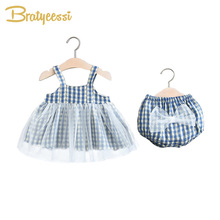 Princess Baby Girl Summer Clothes Plaid Bow Tops Shorts Baby Suit Newborn Girl Outfit Kids Clothes Baby Girl Set Infant Clothing