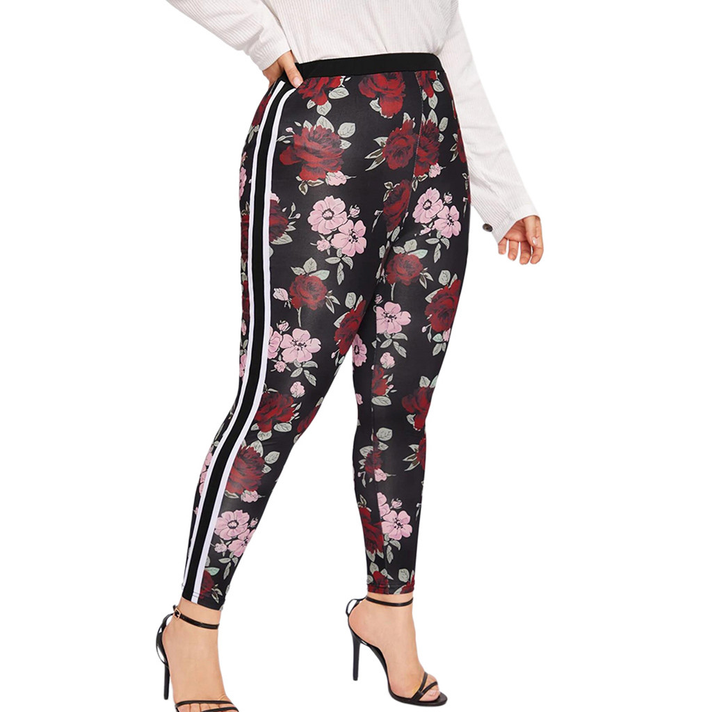 High Quality Sexy Women Yoga Pants Plus Size XL-5XL Flower Printed Elastic Fitness Sports Leggings Yoga Athletic Trousers  N20