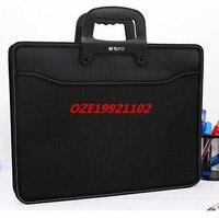 1PCS Black Textured A3 4 Pockets Zip Closure File Document Paper Holder Bag