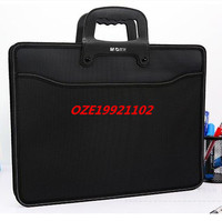 1PCS Black Textured A3 4 Pockets Zip Closure File Document Paper Holder Bag