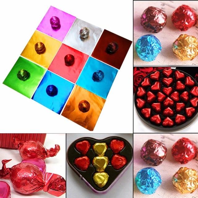 100Pcs/Set Aluminum Foil Chocolate Wrappers Paper Wedding Candy