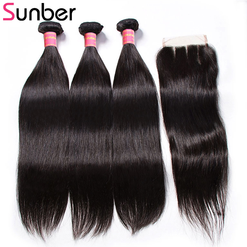 Sunber Brazilian Straight Hair Bundles With Closure 100% Human Hair Weave Bundles With Closure 4*4 inch Remy Hair Weave-in 3/4 Bundles with Closure from Hair Extensions & Wigs    1