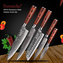 SUNNECKO Santoku Knife Japanese 73-Layers Damascus Steel Kitchen Knives Pakka Wood Handle Utility Chef Slicing Paring Cut Tools