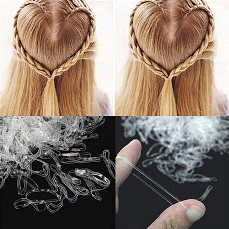 200/500 יחידות מיני אביזרי שיער הצמה קטנה מחזיק עניבת להקת קוקו חסמי אלסטיים גומי אלסטי ברור לבן אביזרי