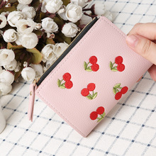 Womens wallet small fashion brand leather buckle embroidered short New student кошелек женск