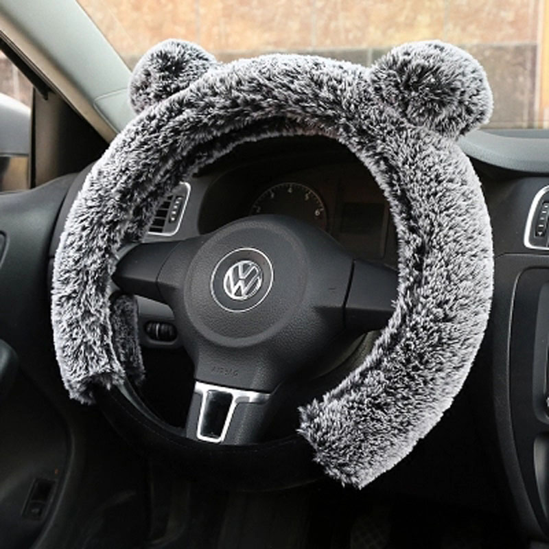 Winter Cartoon Steering Wheel Cover Plush Fur Car Steering-Wheel Covers Auto Wheels Case Universal Size M 38cm Car Accessories universal sports style car steering wheel cover genuine leather auto wheel covers fits 15 inches 38cm car interior accessories