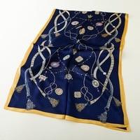 New Printed Bandana Scarf Summer Long Silk Scarf Women 100 Satin Silk Scarves Wraps Shawl Cape