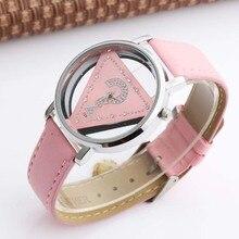 e44fbbc6ff3 Tendência de moda Womage Marca Mulheres Relógios Ladies Triângulo Strass  Transparente de Quartzo relógio de Pulso