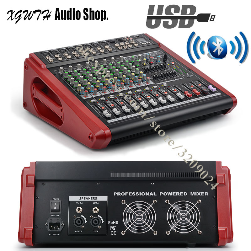 8 Channel Bluetooth Sound Mixing Console High Power Band Audio Amplifier Mixer Mic with 48V Phantom
