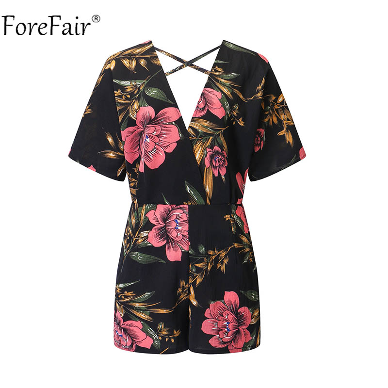 Forefair Black Sexy Backless Print Playsuits Women Floral Rompers Female V Neck Short Loose Bohemian Jumpsuit Plus Size 5