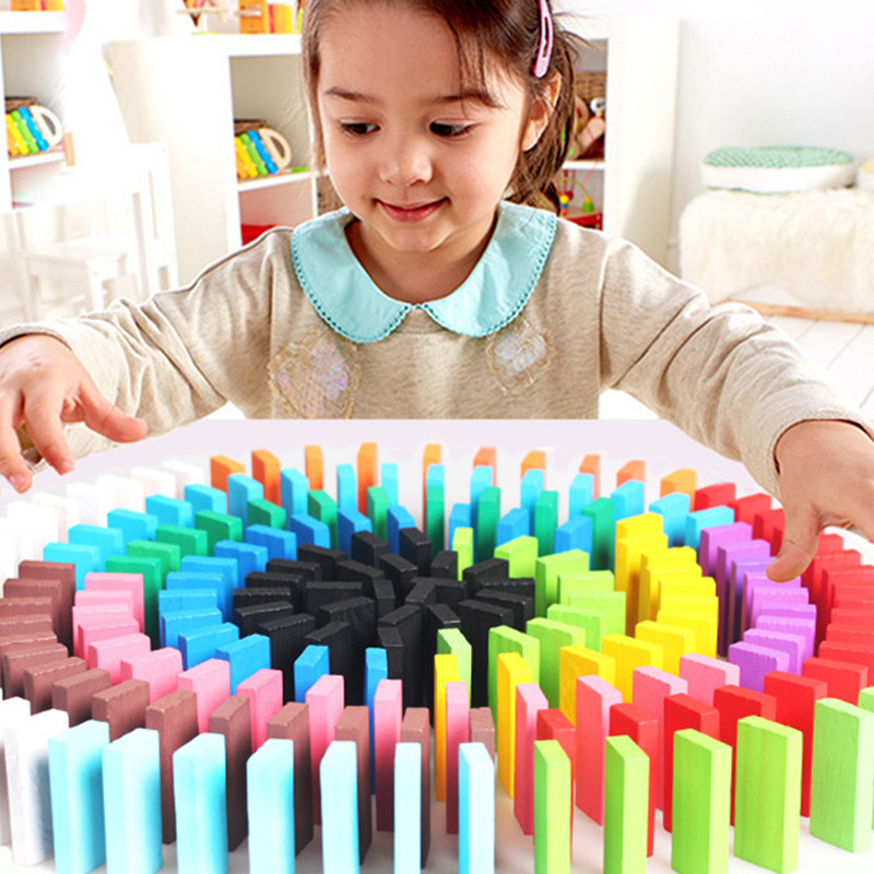 GeïMporteerd Uit Het Buitenland Kleurrijke Regenboog Domino Spelletjes Kids Speelgoed 100/120/240 Stks Houten Blokken Domino Vroege Educatief Speelgoed Voor Kinderen Kerstcadeaus Jade Wit