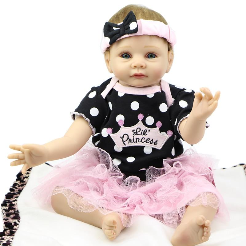 Silicone Baby Doll Reborn 22 inch Handmade Baby Toy Soft Body Newborn Babies Girl Collectible Kids Birthday Gift