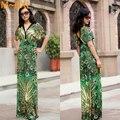 2015 mujeres del verano de impresión de plumas de Pavo Real a largo maxi dress plus size sexy vestido de profundo escote en v verde xxl, xxxl, xxxxl, xxxxxl