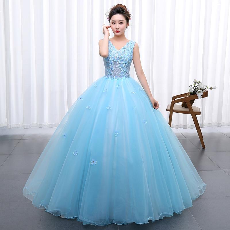 Princess Blue New Wedding Dress 2017 Doubl Shoulders for Party Chorus host  Fleabane Bitter Stage Studio Photo d96c92e1d056