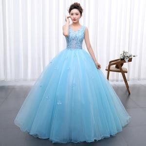 Image 3 - Princess Blue New Wedding Dress 2020 Doubl Shoulders for Party Chorus host Fleabane Bitter Stage Studio Photo