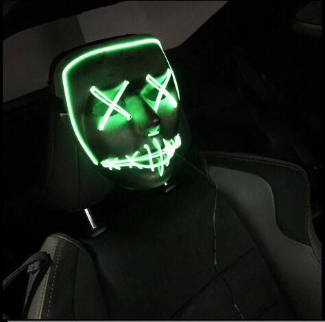 Halloween Scary Slit mouth light up glowing EL wire Cute mask ...