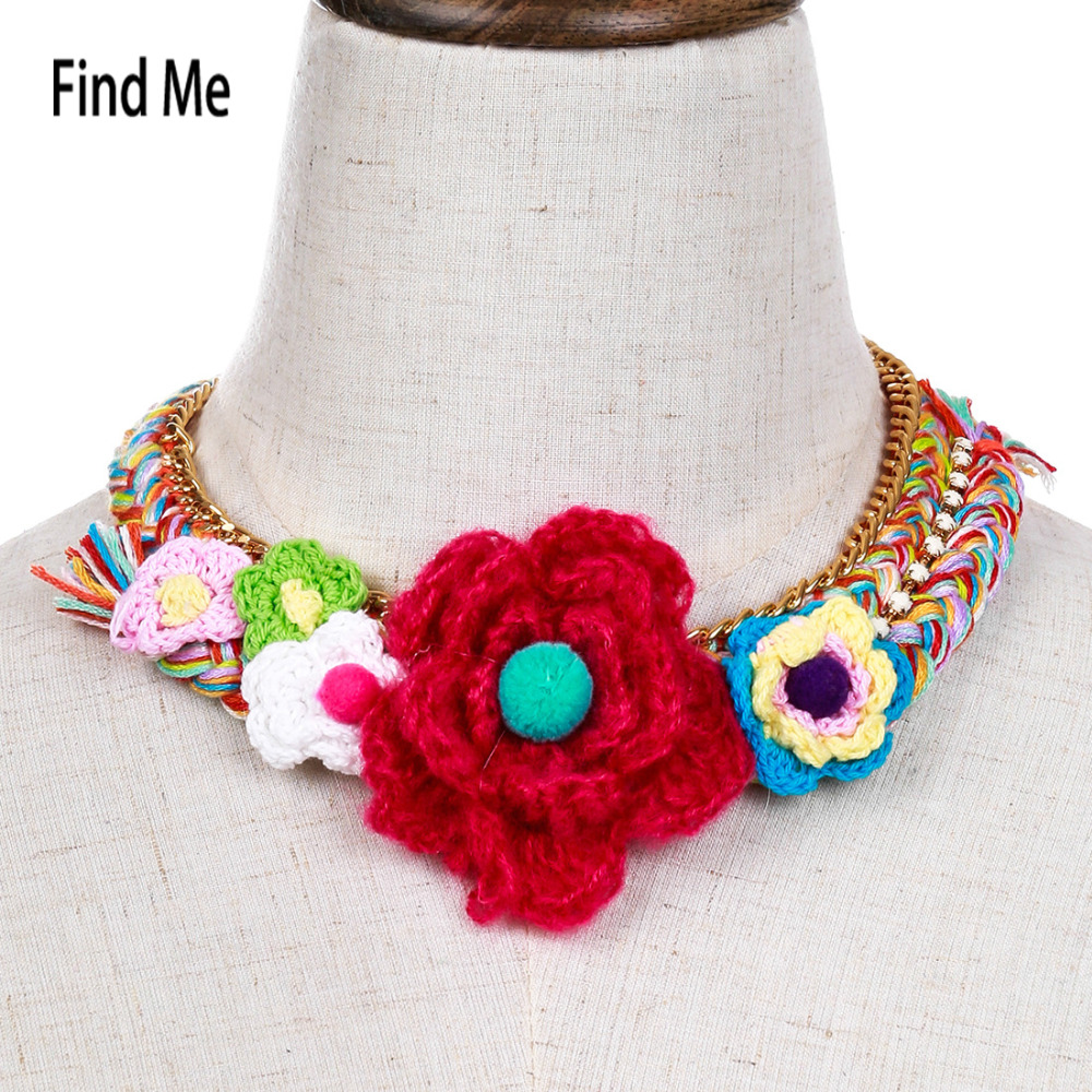 Find Me 2017 fashion brand Big flower Weave collar choker necklace vintage cloth crystal statement maxi necklace women Jewelry