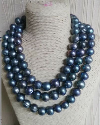 baroque 50 14-13 MM AAA SOUTH SEA Black blue PEARL NECKLACE 925silver GOLD CLASP huge elegant 15 mm freshwater black pearl necklace 18 inch 925silver clasp