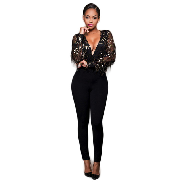 e949cd5059e Deep V Neck Tassels Sequin Jumpsuit Women Long Sleeve Black Sexy Jumpsuits  2018 Autumn Winter Fashion Mesh Rompers Party Overall