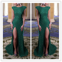 new years eve 2014 scoop green sequined mermaid luxury evening dresses vestidos de formatura robe soiree custom made