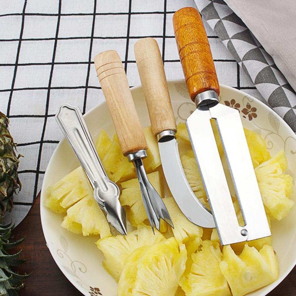 4PCS Set Stainless Steel Pineapple Peeler Strawberry Huller Fruit Stem Remover Leaf Peeler Metal Slicer home Kitchen Gadgets in Pineapple Slicers from Home Garden